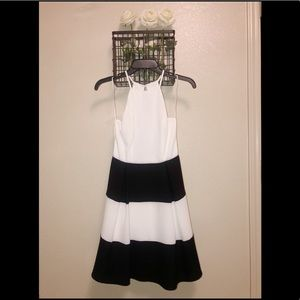 White and black backless Altard State dress